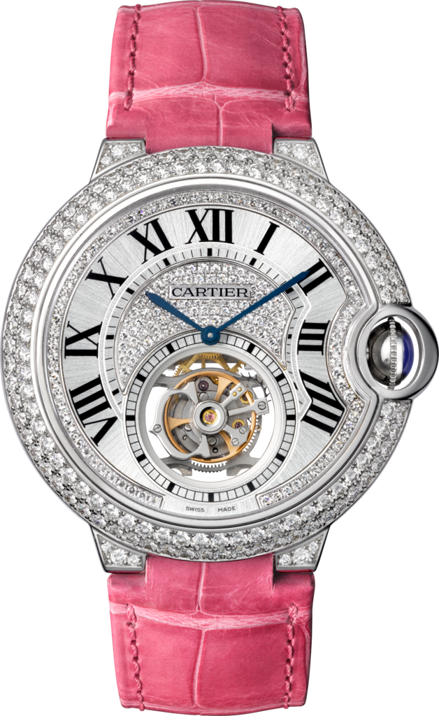 Ballon Bleu de Cartier Flying Tourbillon watch39 mm, rhodiumized 18K white gold, diamonds