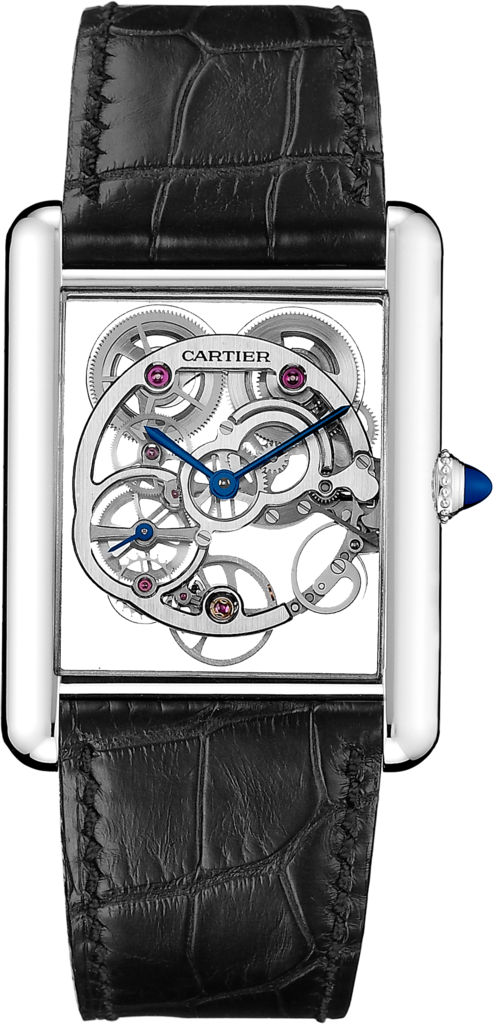 Tank Louis Cartier Skeleton Sapphire watchXL model, manual, 18K white gold