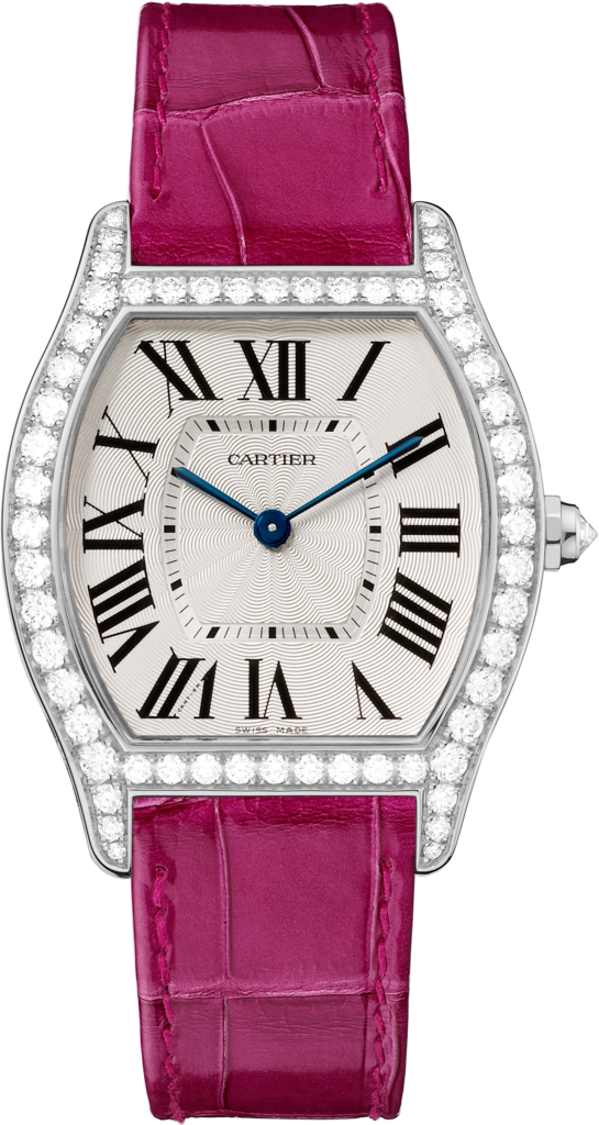Tortue watchMedium model, rhodiumized 18K white gold, leather, diamonds