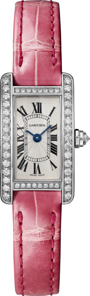 Tank Américaine watchMini, rhodiumized 18K white gold, leather, diamonds