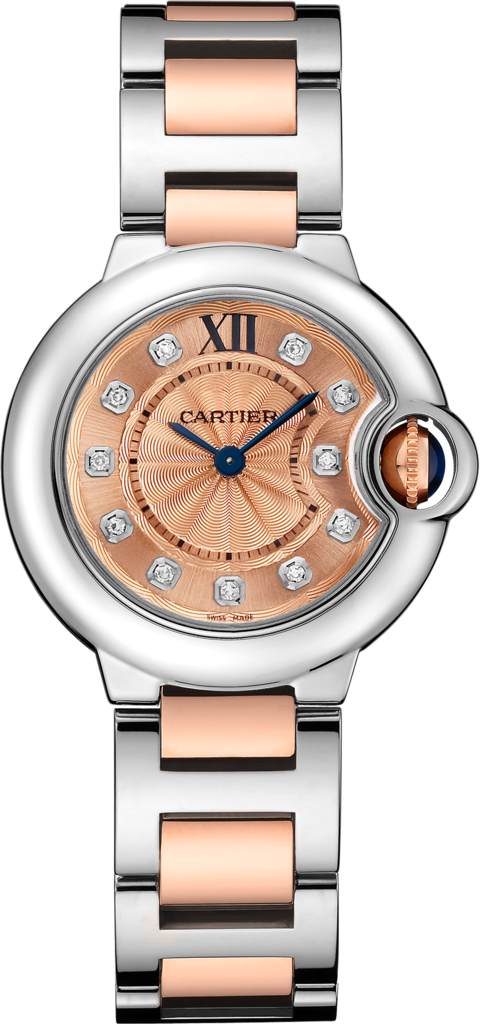 Ballon Bleu de Cartier watch28 mm, 18K gold and steel, diamonds
