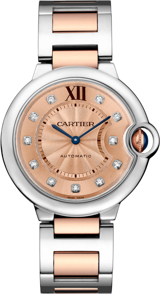Ballon Bleu de Cartier watch36 mm, 18K gold and steel, diamonds