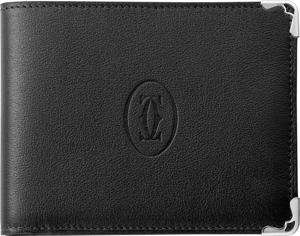 Must de Cartier Small Leather Goods, 6-credit card walletBlack calfskin, stainless steel finish