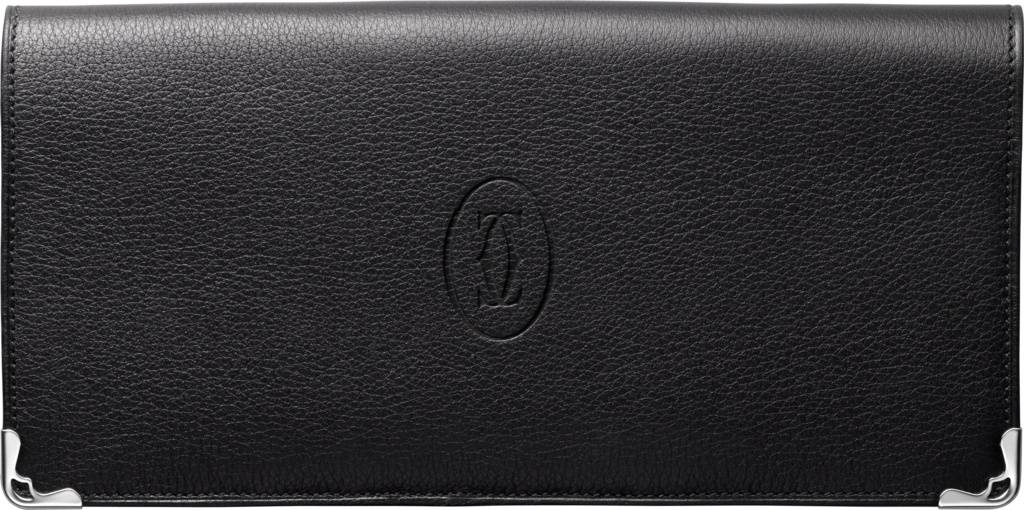 Must de Cartier Small Leather Goods, gusseted international walletBlack calfskin, stainless steel finish