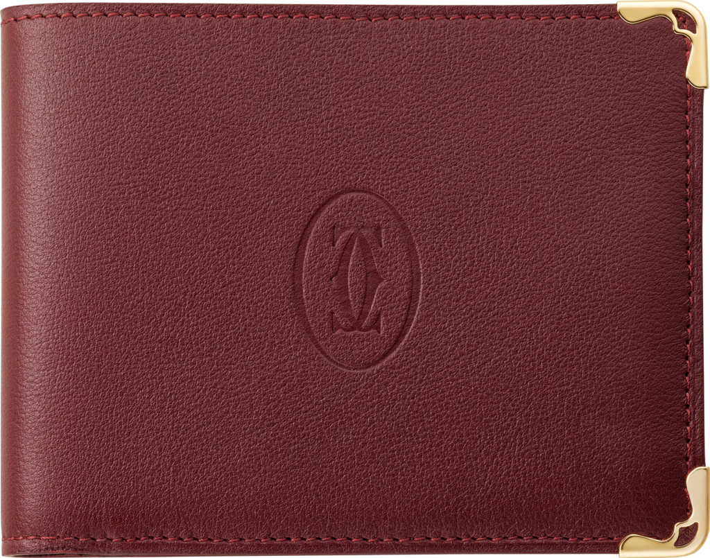 Must de Cartier Small Leather Goods, coin/banknote/credit card walletBurgundy calfskin, golden finish
