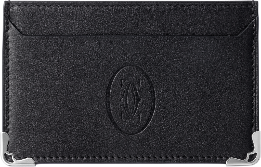 Must de Cartier Small Leather Goods, single card holderBlack calfskin, stainless steel finish