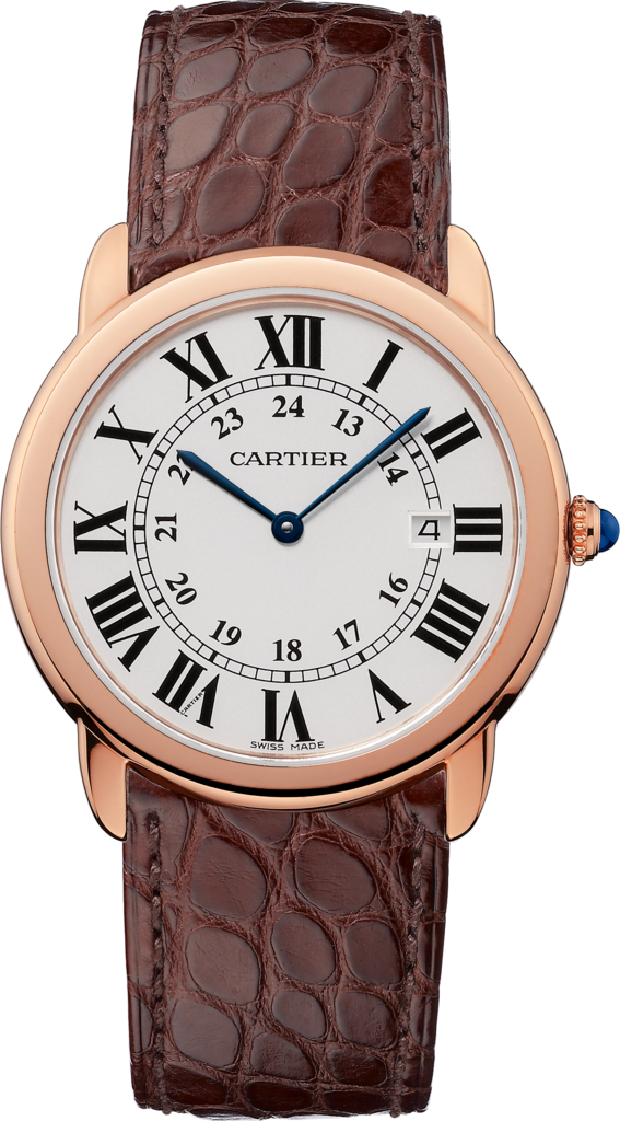 Ronde Solo de Cartier watch36 mm, 18K pink gold, steel, leather