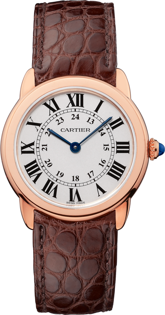 Ronde Solo de Cartier watch29 mm, 18K pink gold, steel, leather