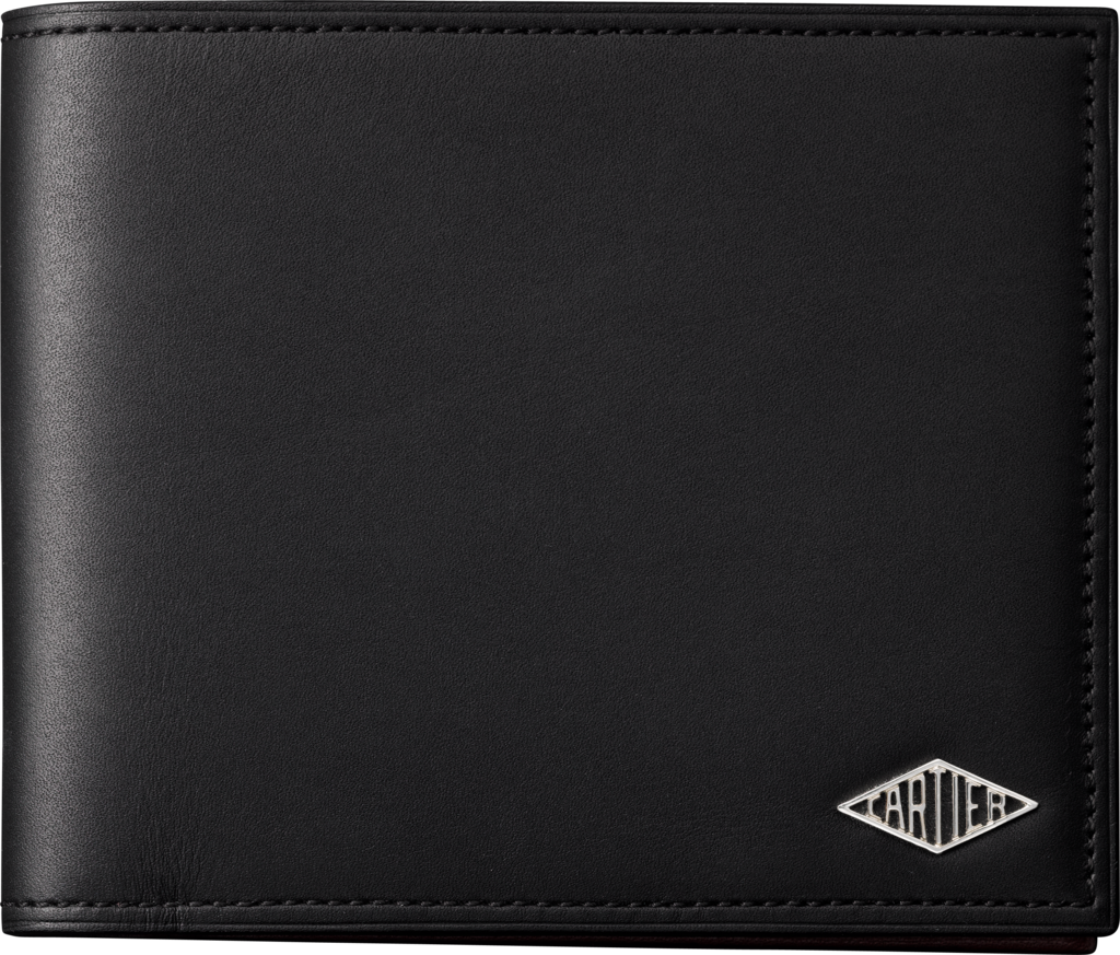 Louis Cartier Small Leather Goods, coin/banknote/credit card walletBlack calfskin, palladium finish
