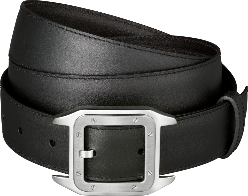 Santos 100 beltBlack cowhide, palladium-finish buckle