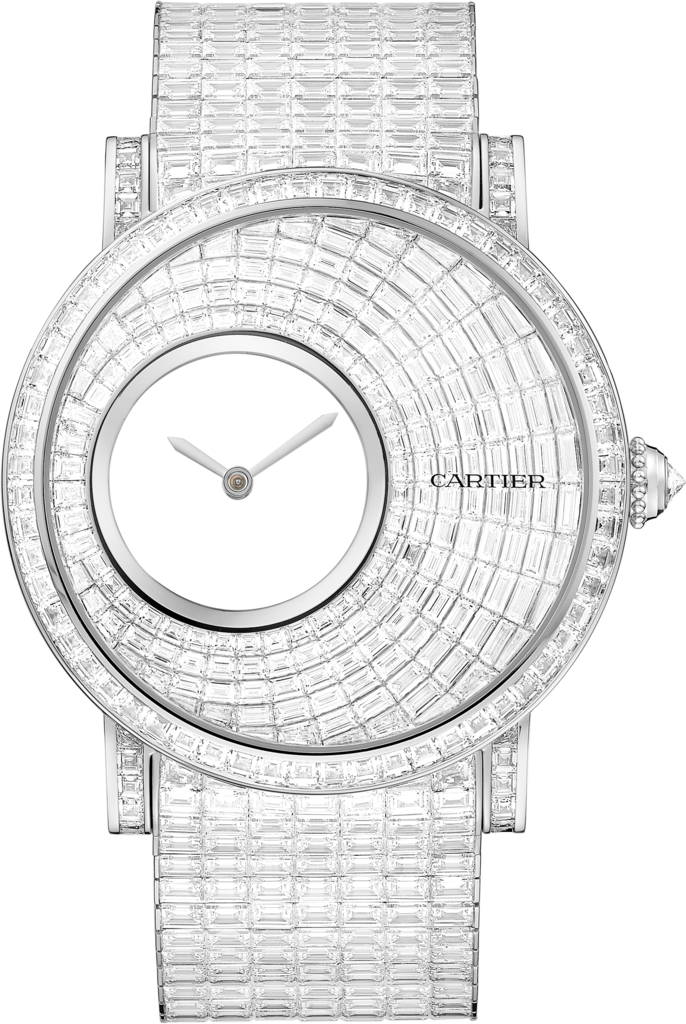 Rotonde de Cartier Mysterious Hour watch43.5 mm, manual, rhodiumized 18K white gold, diamonds