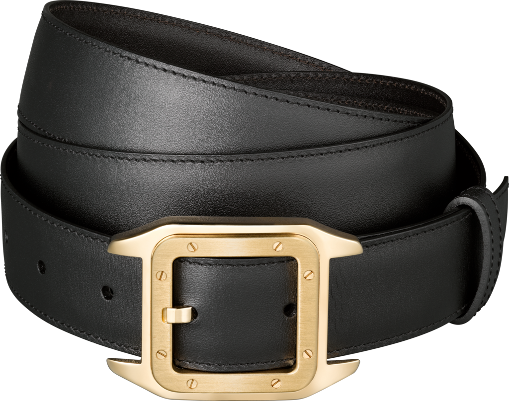 Santos 100 beltBlack cowhide, golden-finish buckle
