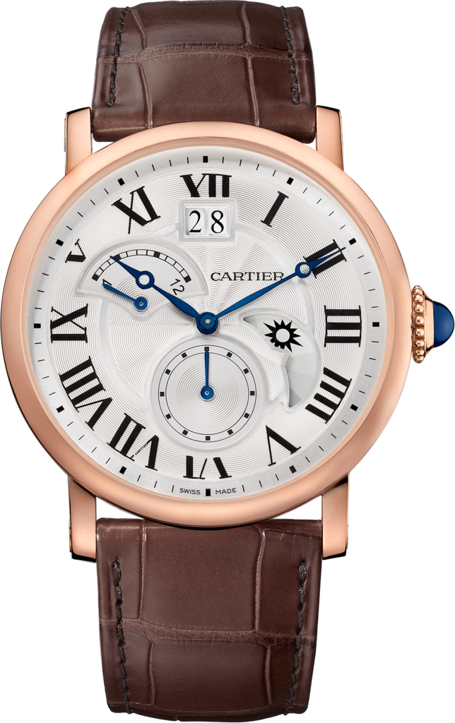Rotonde de Cartier watch, Large Date, Retrograde Second Time Zone and Day Night Indicator42 mm, 18K pink gold, leather