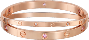 <span class='lovefont'>LOVE</span> bracelet, 6 pink sapphires, 6 diamonds