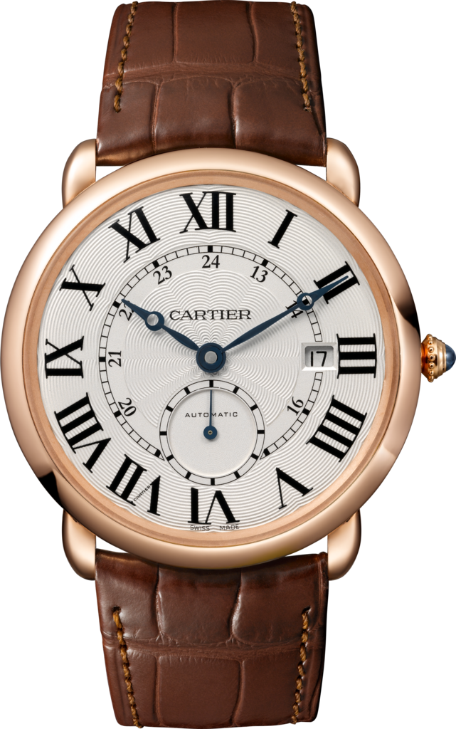 Ronde Louis Cartier watch40 mm, 18K pink gold, leather