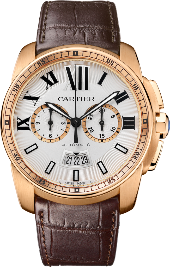 Calibre de Cartier Chronograph watchLarge model, 18K pink gold, leather