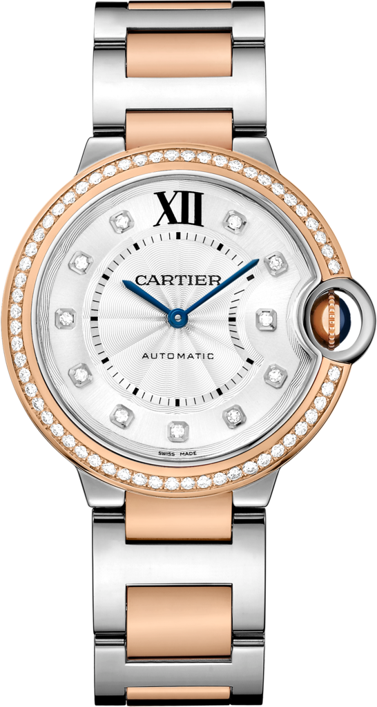 Ballon Bleu de Cartier watch36 mm, 18K pink gold and steel, diamonds