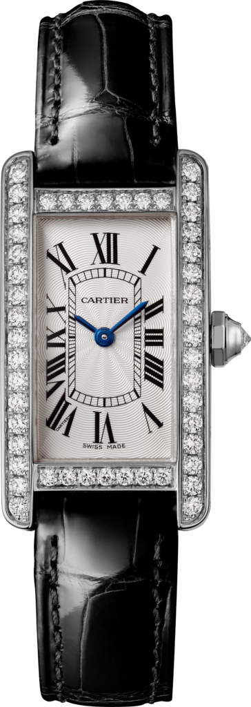 Tank Américaine watchSmall model, rhodiumized 18K white gold, leather, diamonds