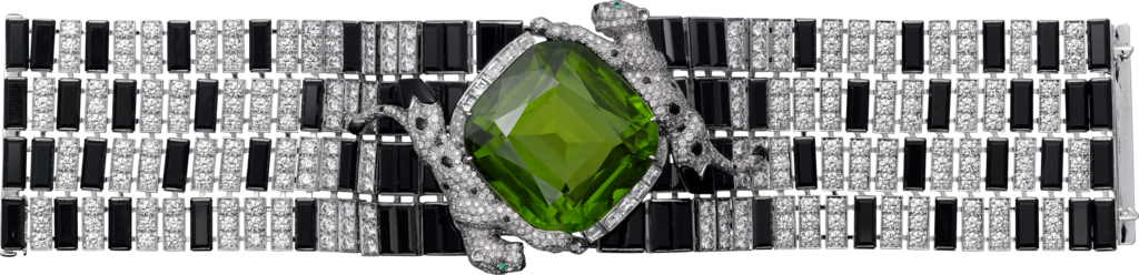 Panthère de Cartier High Jewelry braceletWhite gold, peridot, onyx, emeralds, diamonds