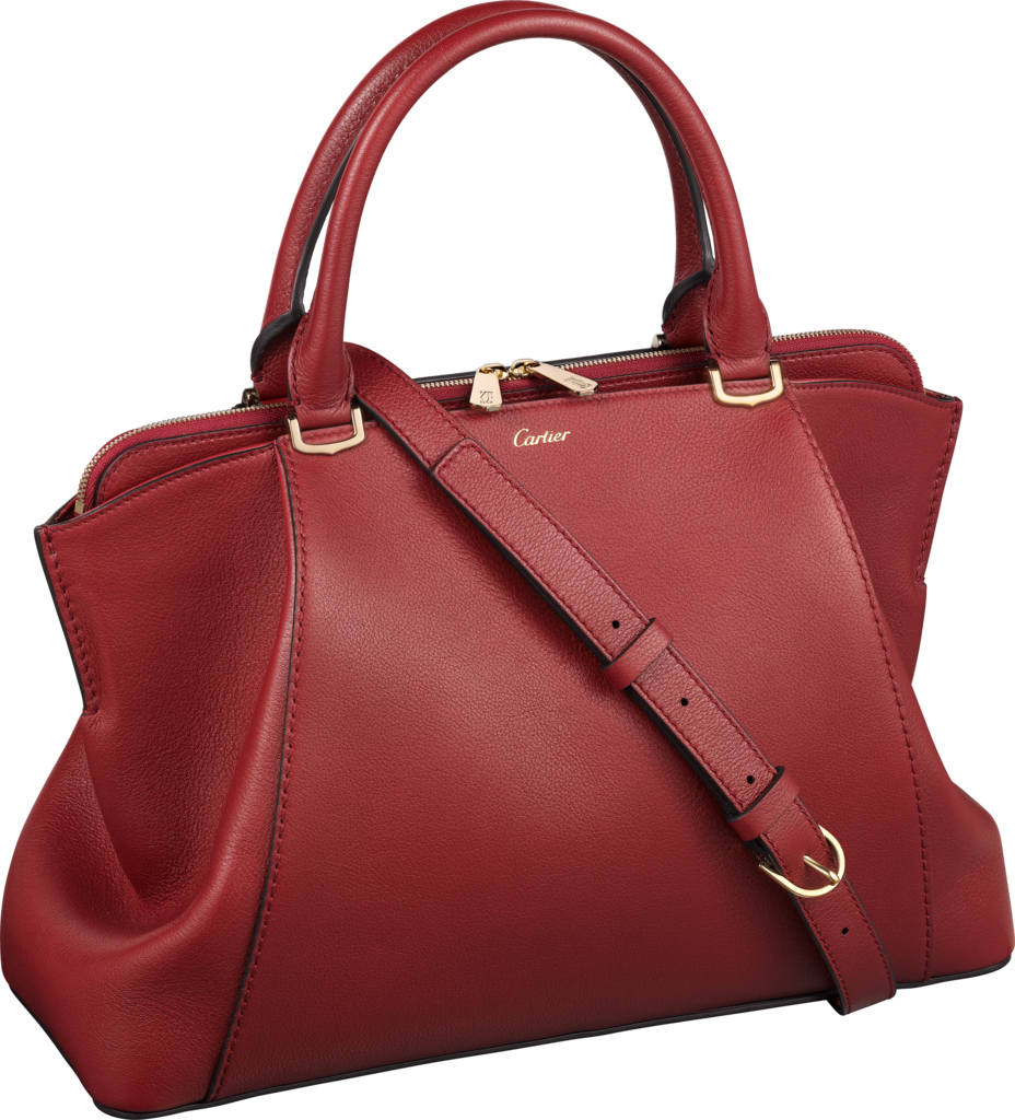 C de Cartier bag, small modelRed spinel-colored taurillon leather, golden finish