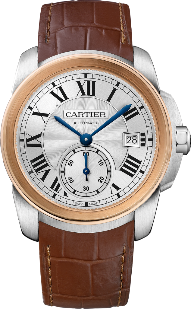 Calibre de Cartier watch38 mm, steel, leather