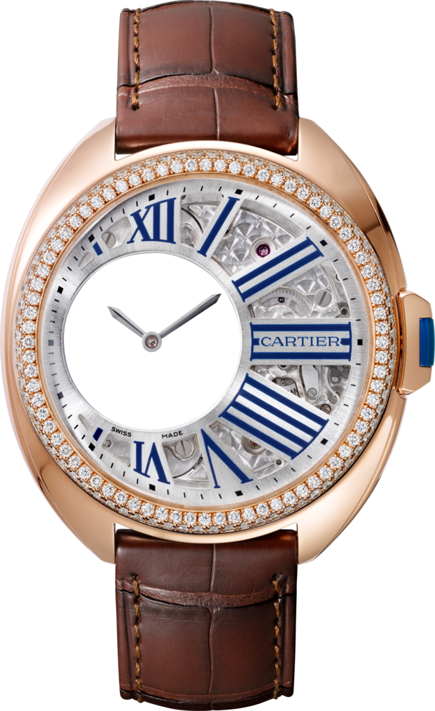 Clé de Cartier Mysterious Hour watch41 mm, manual, 18K pink gold, diamonds