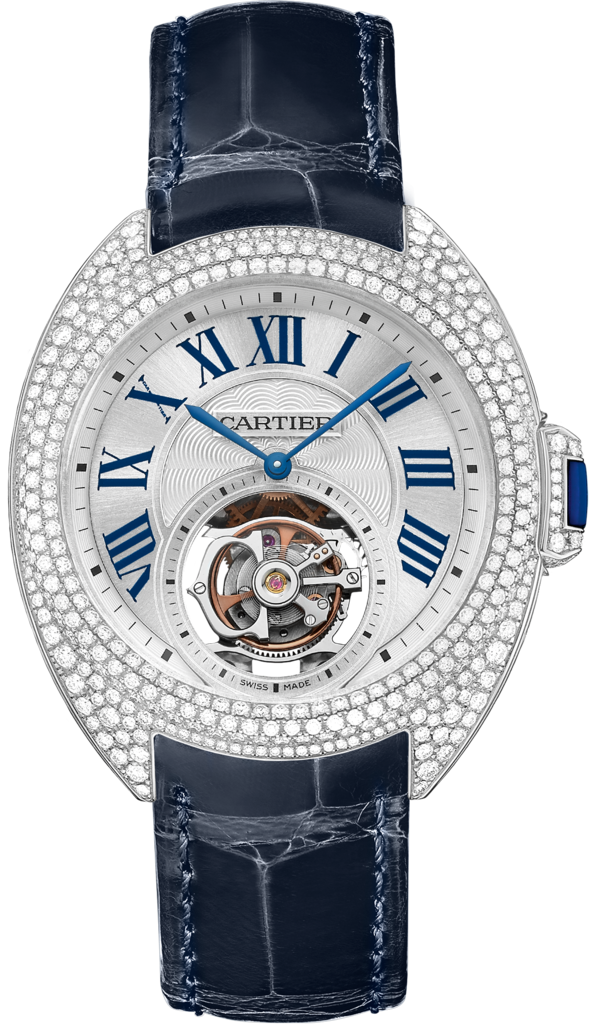 Clé de Cartier 35 mm flying tourbillon watch35 mm, 9452 MC, rhodiumized 18K white gold, diamonds, sapphire