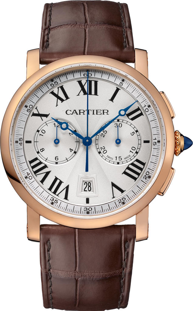 Rotonde de Cartier Chronograph watch40 mm, 18K pink gold, leather