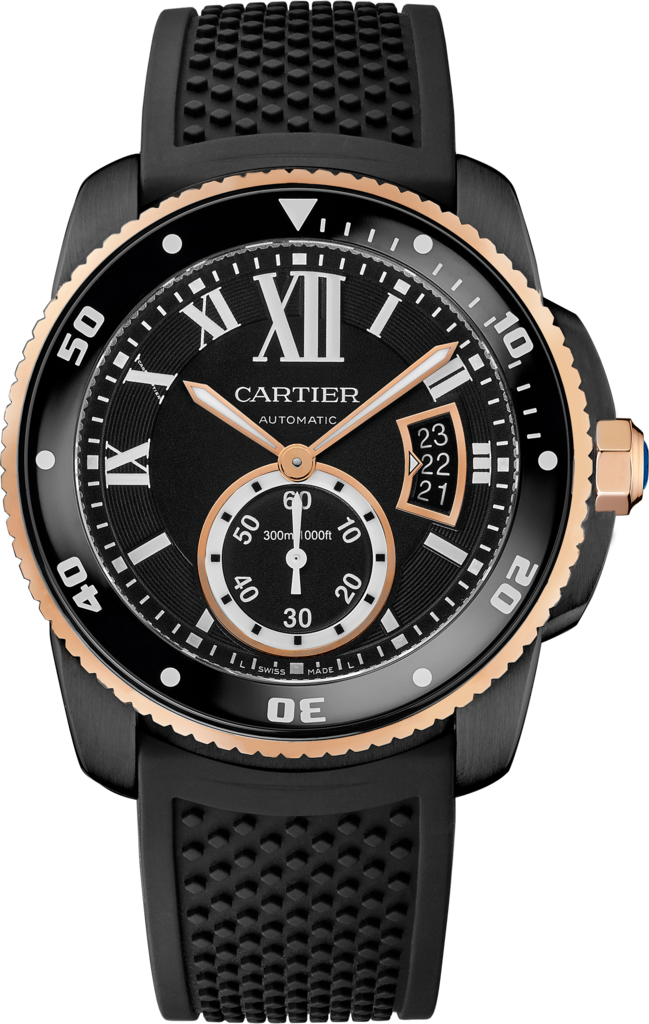 Calibre de Cartier Carbon Diver watch42 mm, 18K pink gold, ADLC steel, rubber