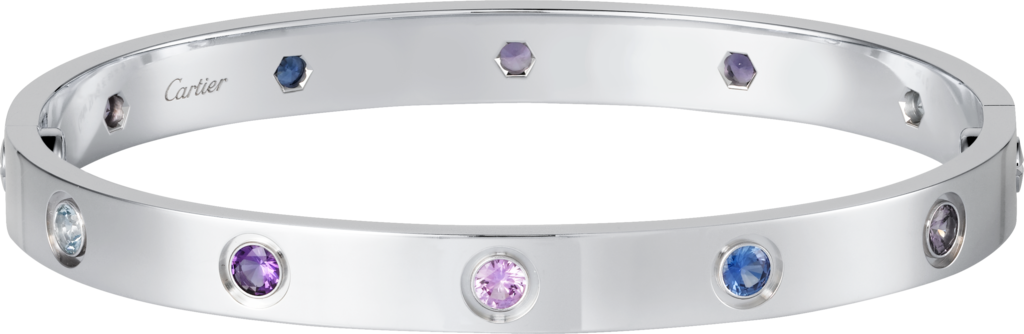 Love braceletWhite gold, aquamarines, sapphires, spinels, amethysts