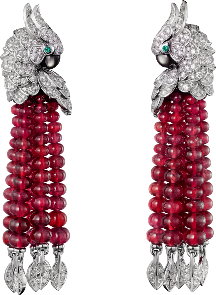 Les Oiseaux Libérés earringsWhite gold, rubies, emeralds, mother-of-pearl, diamonds