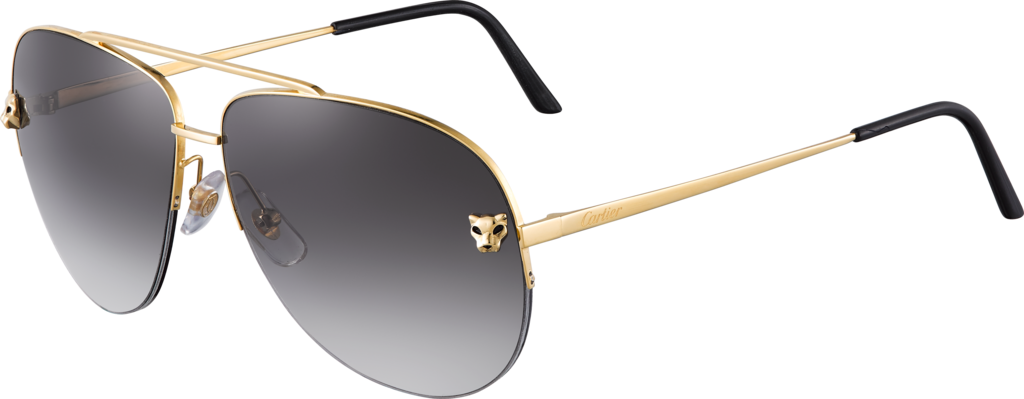 Panthère de Cartier sunglassesMetal, smooth golden finish, gray gradient lenses