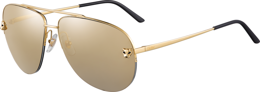 Panthère de Cartier sunglassesMetal, smooth golden finish, golden mirror lenses